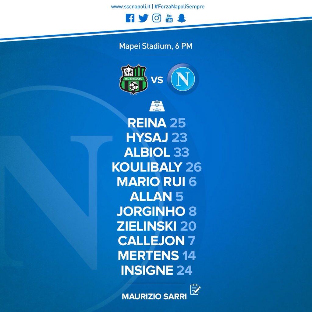 Sassuolo-Napoli, le formazioni ufficiali: Hysaj e Zielinski titolari, Hamsik in panchina