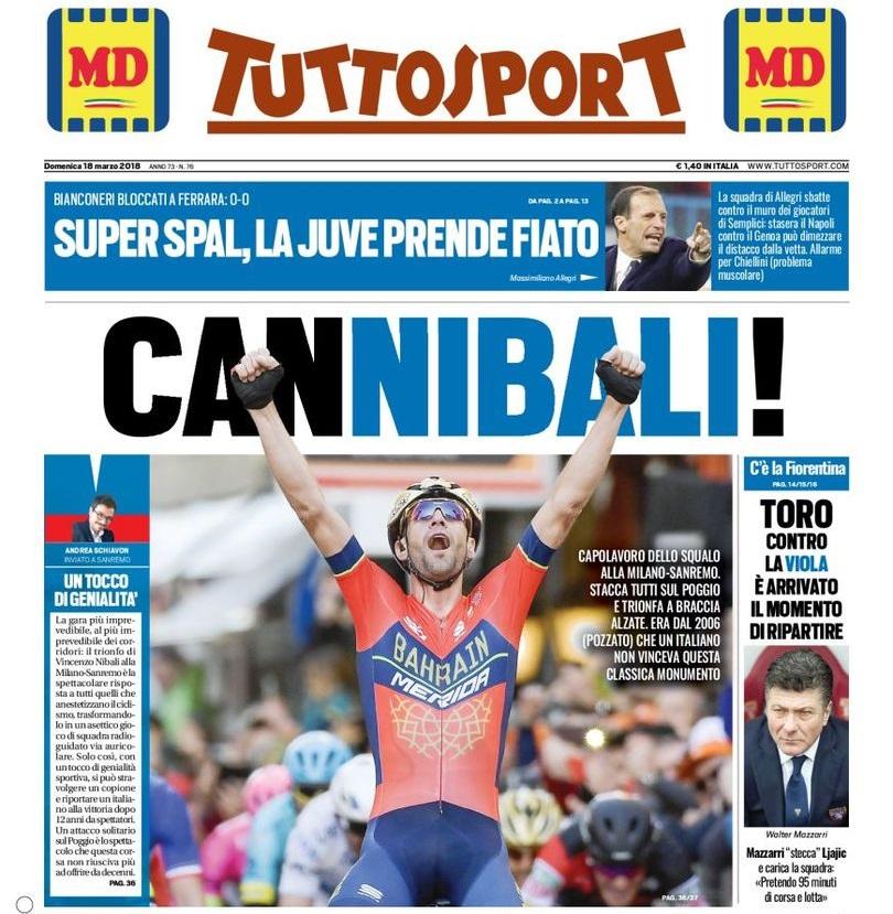 L'improvvisa passione di Tuttosport per il ciclismo: celebra Nibali, oscura la Juventus
