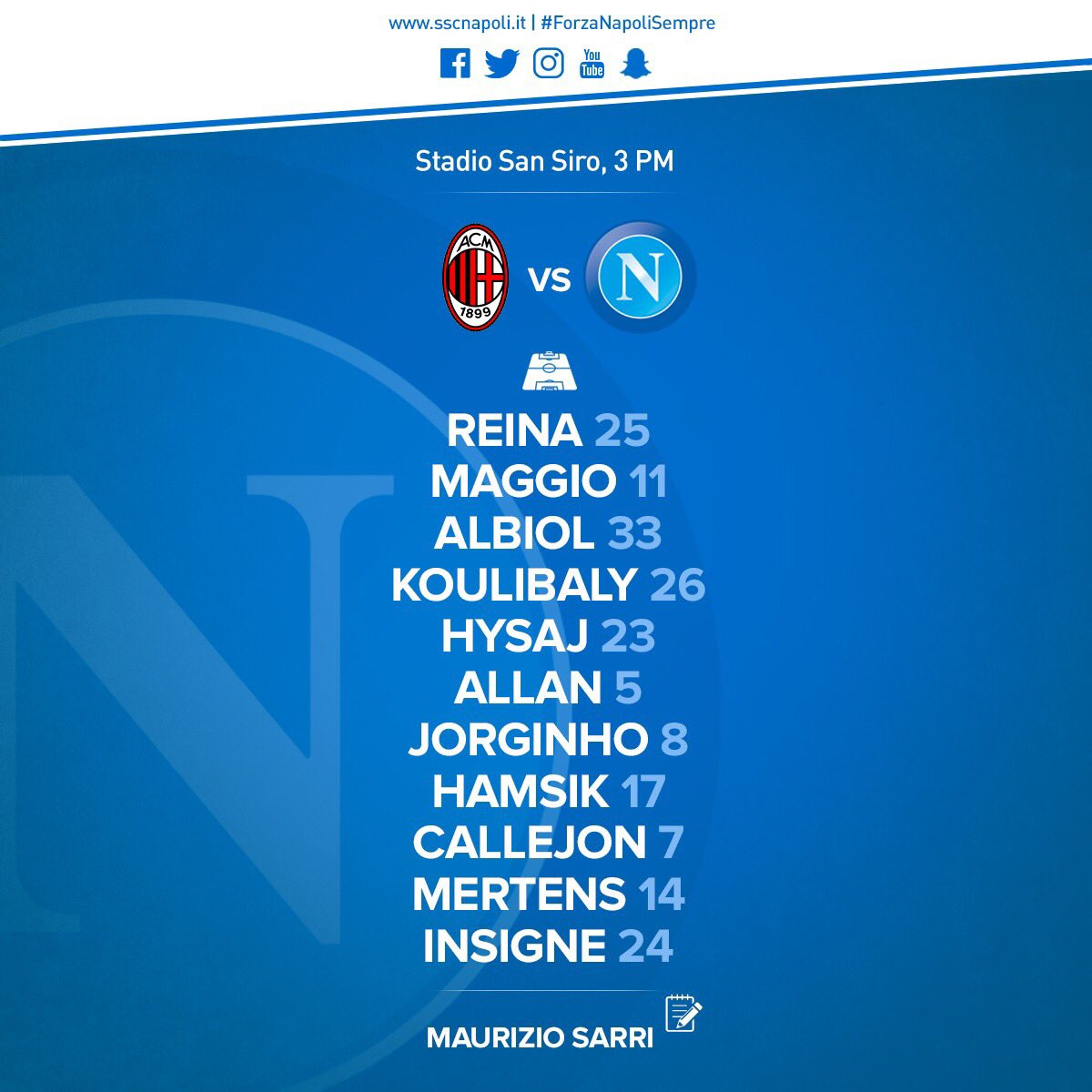 Milan-Napoli, le formazioni ufficiali: Sarri non cambia, Maggio a destra