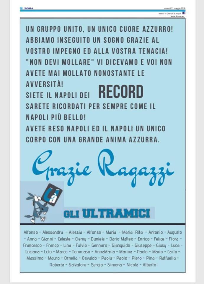 Gli Ultramici ringraziano il Napoli con una pagina sul Roma: «Abbiamo inseguito un sogno»