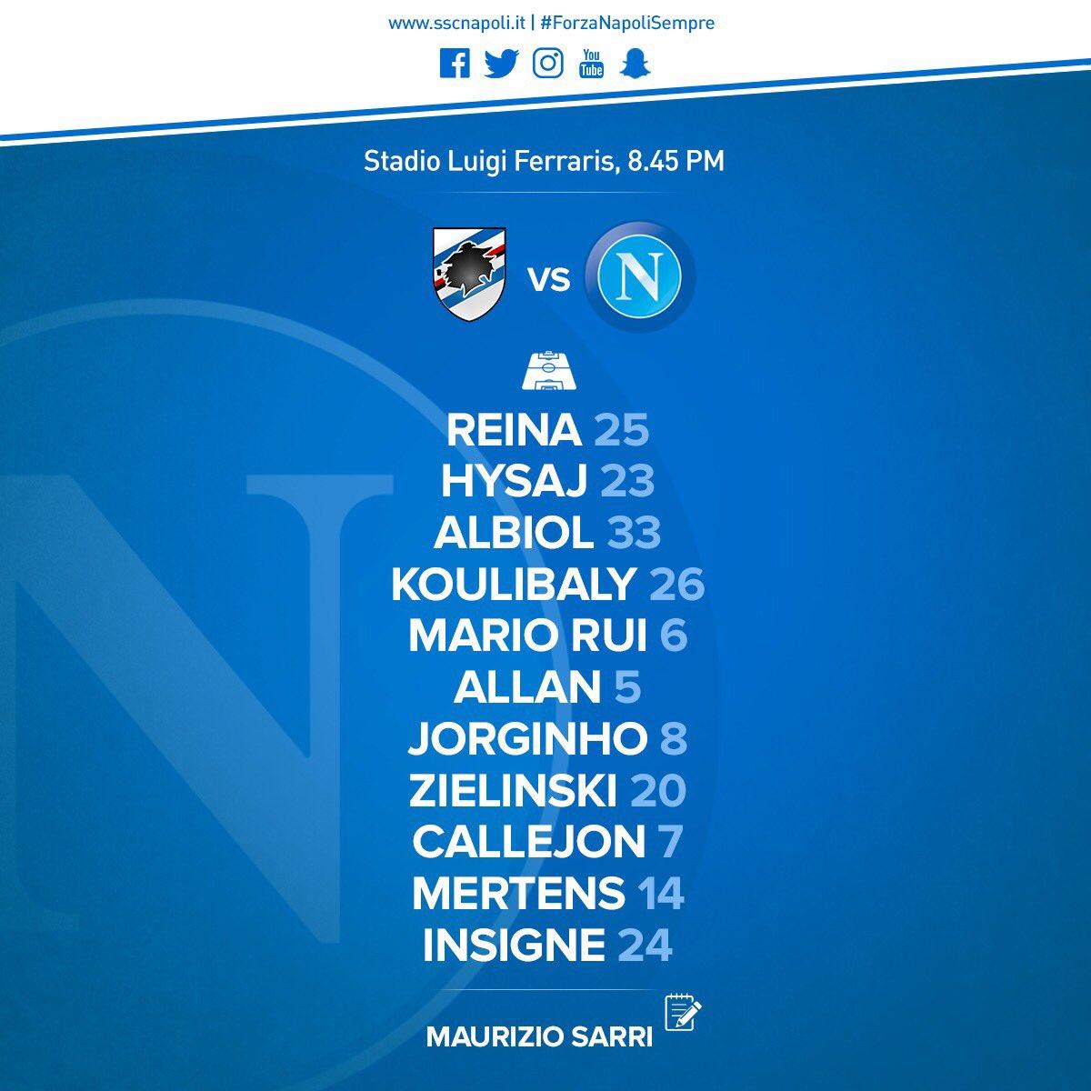 Sampdoria-Napoli, le formazioni ufficiali: Mertens e Zielinski titolari, Hamsik in panchina
