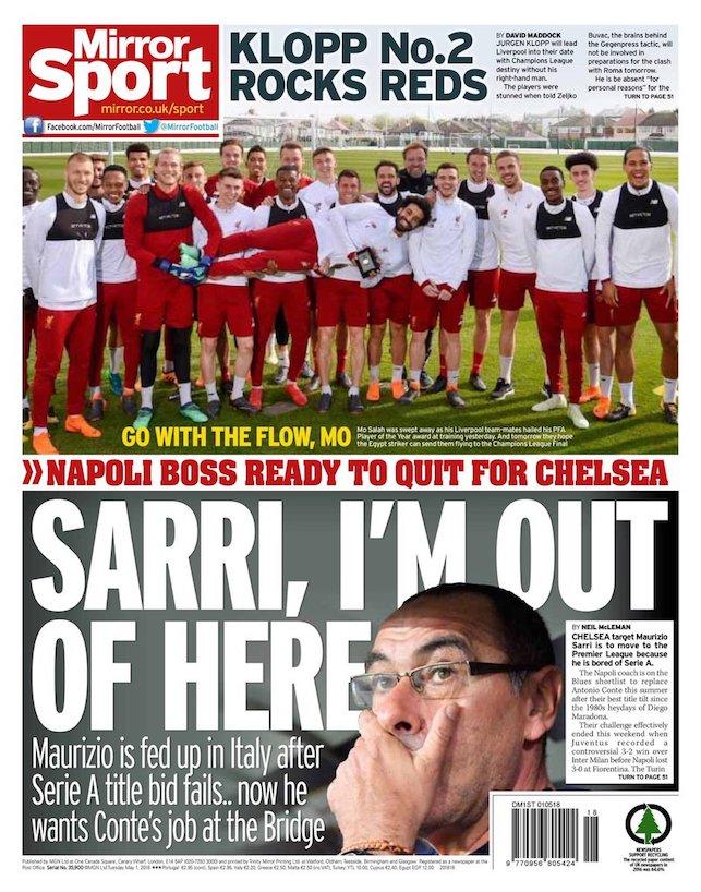 In prima sul Mirror c'è Sarri al Chelsea