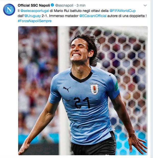 """Su Twitter il Napoli celebra la doppietta di Cavani: """"Immenso Matador"""""""