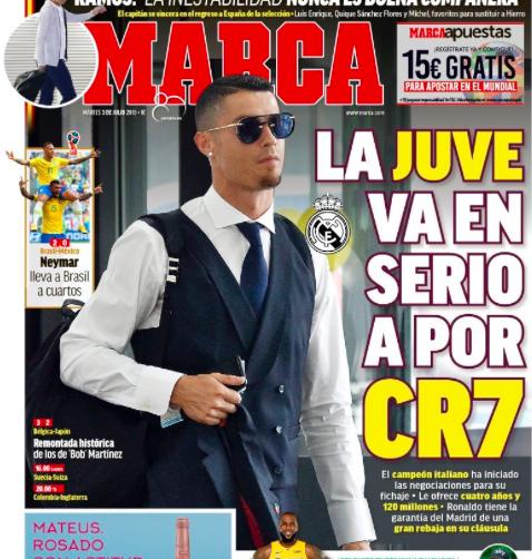 Per Marca la Juventus fa sul serio con Cristiano Ronaldo