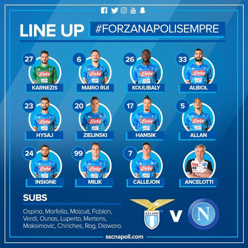 Lazio-Napoli, le formazioni ufficiali: Ancelotti sceglie Hamsik e Allan, Karnezis in porta