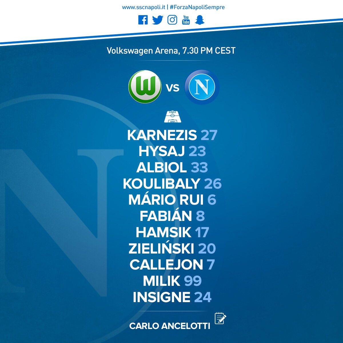 Wolfsburg-Napoli, le formazioni ufficiali: Zielinski-Hamsik-Fabian, centrocampo tecnico per Ancelotti