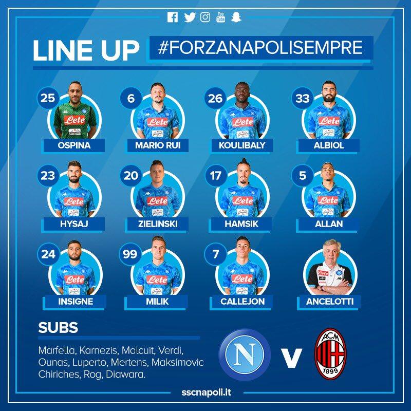 Napoli-Milan, le formazioni ufficiali: Ancelotti lancia Ospina titolare