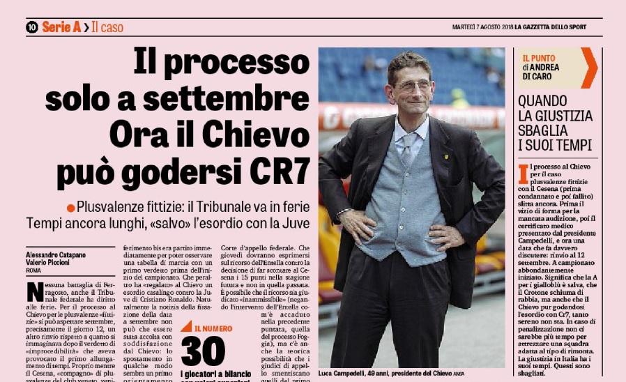 """La Gazzetta e il caso-Chievo: plusvalenze sì, ma """"può godersi CR7"""""""