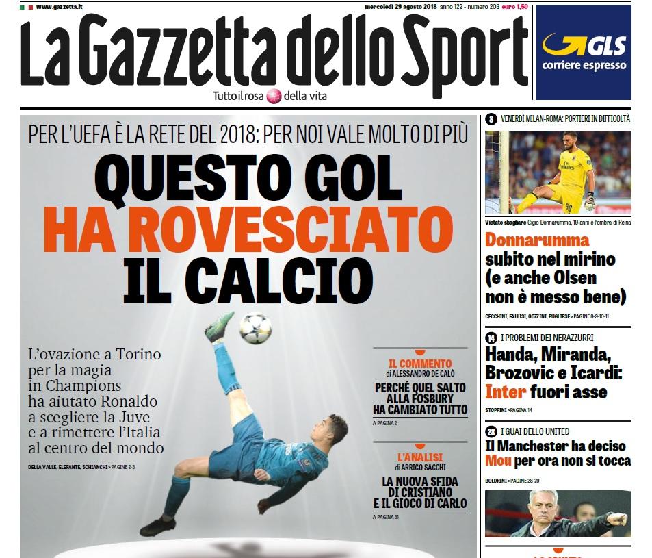 Il sobrio omaggio della Gazzetta a Ronaldo: «Il gol che ha cambiato la storia»