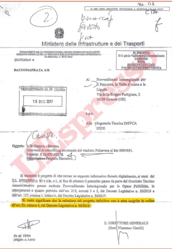 Genova: il progetto di retrofitting di Autostrade era incompleto, ma il Ministero lo approvò lo stesso