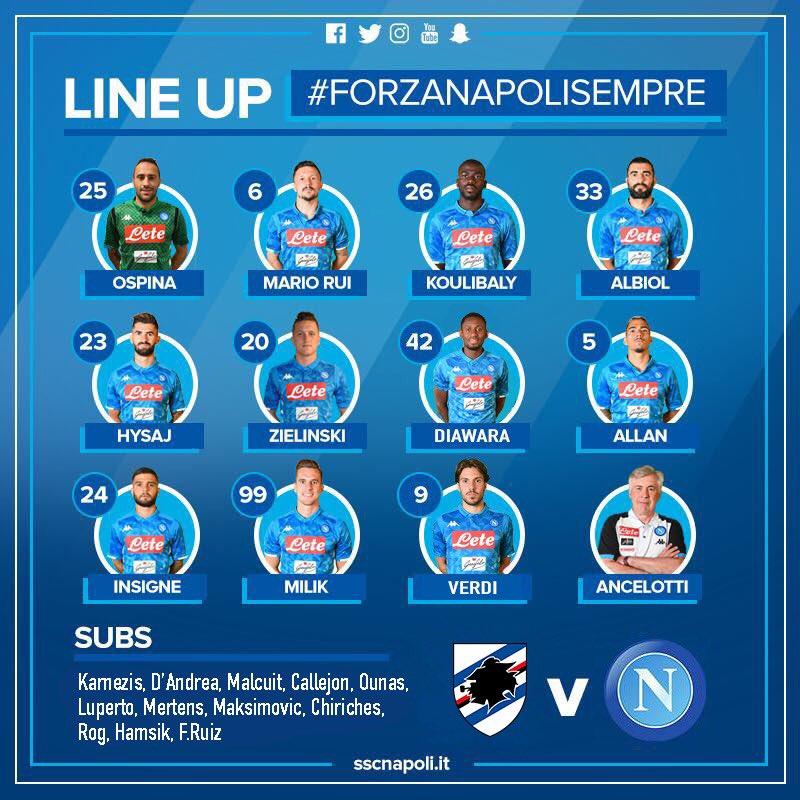 Sampdoria-Napoli, le formazioni ufficiali: Ancelotti vara il turn over, dentro Diawara e Verdi