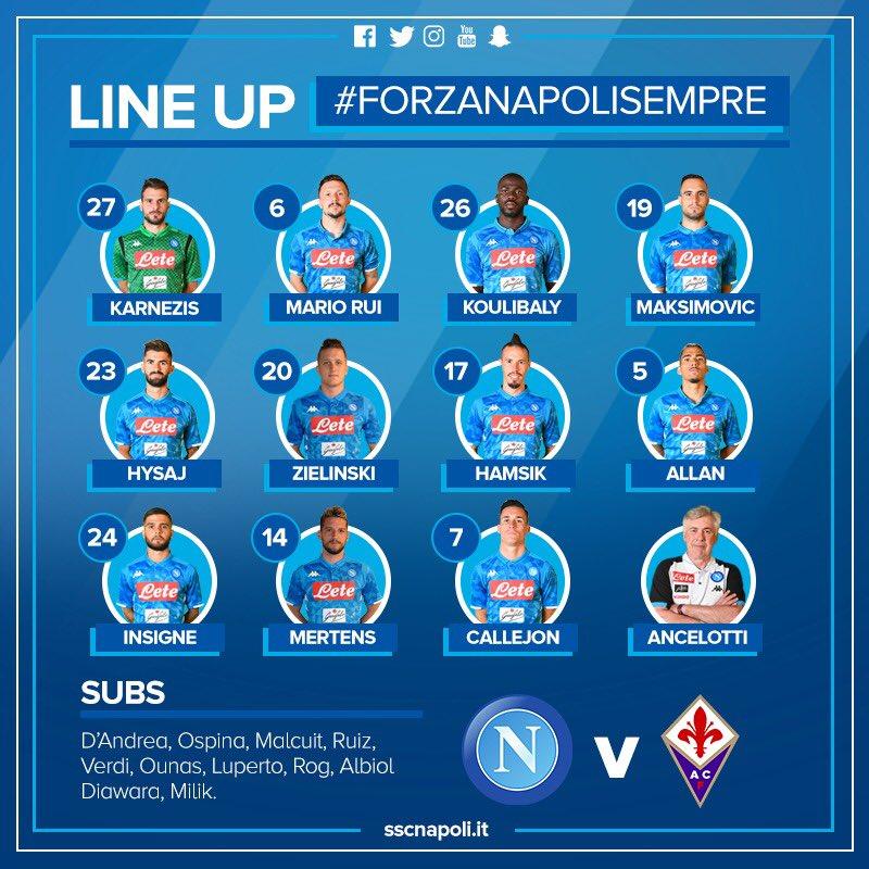 Napoli-Fiorentina, le formazioni ufficiali: Karnezis, Maksimovic e Mertens dall'inizio