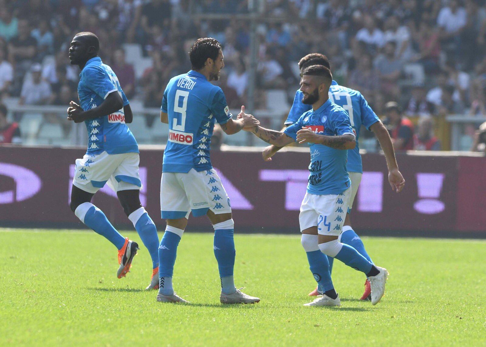 Torino-Napoli 0-2, il primo tempo: azzurri dominanti, in gol Insigne e Verdi