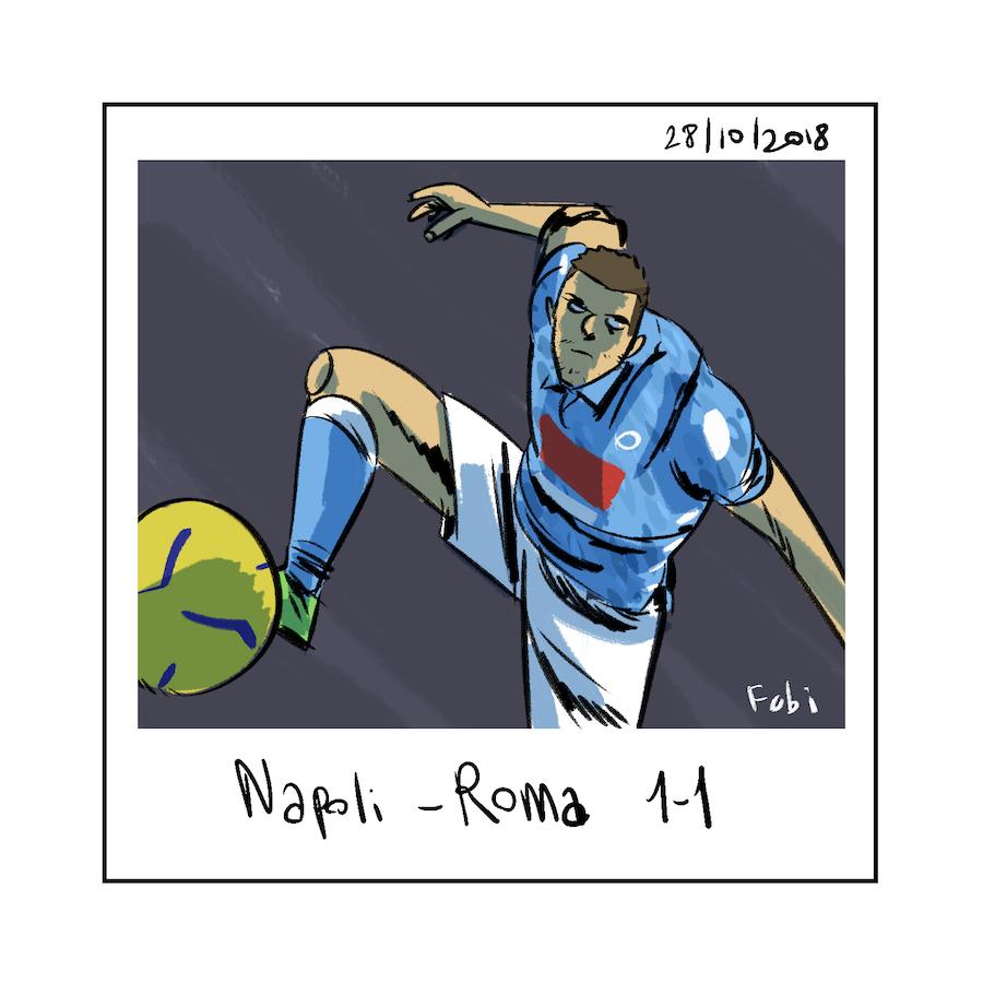 Napoli-Roma: il gol di Mertens