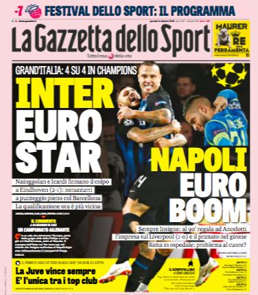 Per la Gazzetta la vittoria dell'Inter è più importante di quella del Napoli