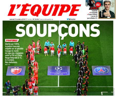 """L'Equipe: """"la Uefa aveva informato la Finanza della sospetta combine Psg-Stella Rossa"""""""