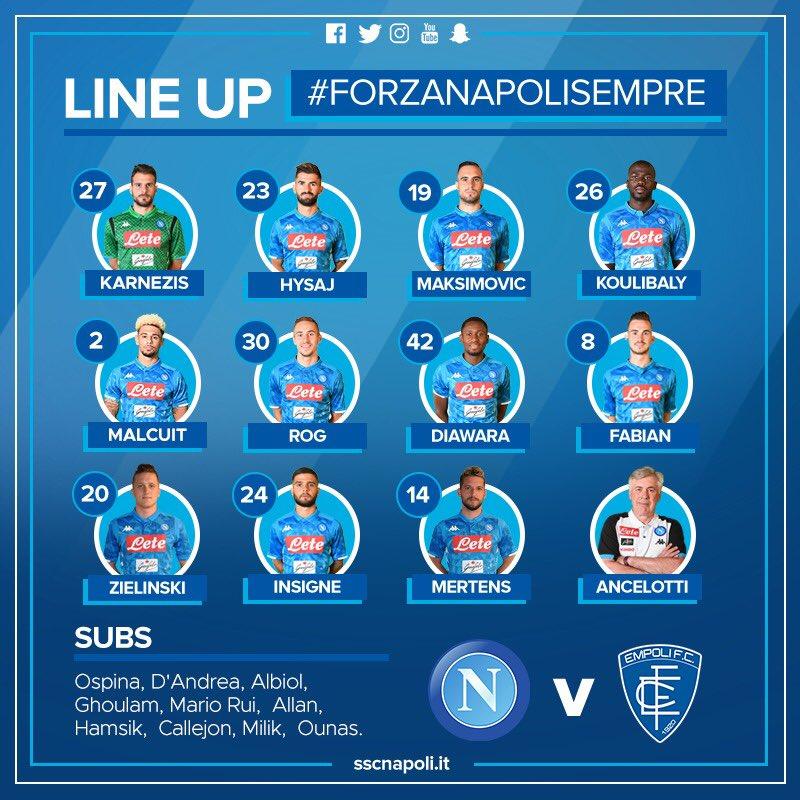 Napoli-Empoli, 14esima formazione diversa per Ancelotti