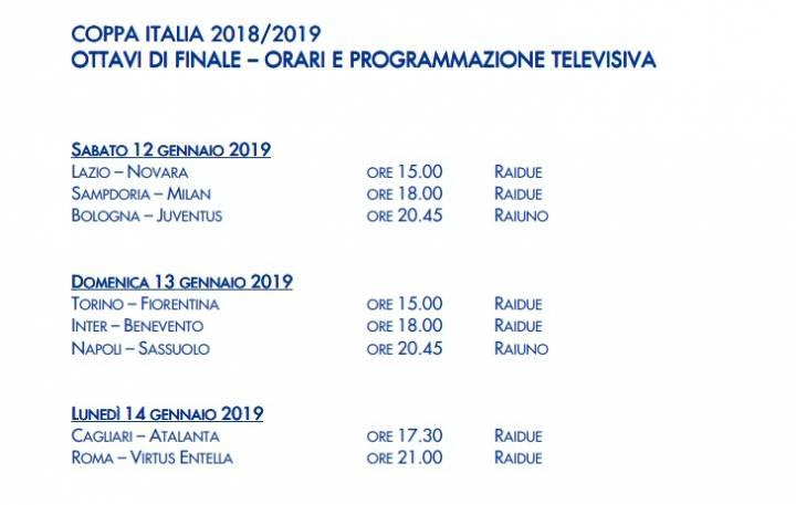 Coppa Italia, Napoli Sassuolo il 13 gennaio alle 20.45