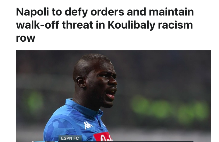 Koulibaly, anche l'Inghilterra si scopre razzista negli stadi