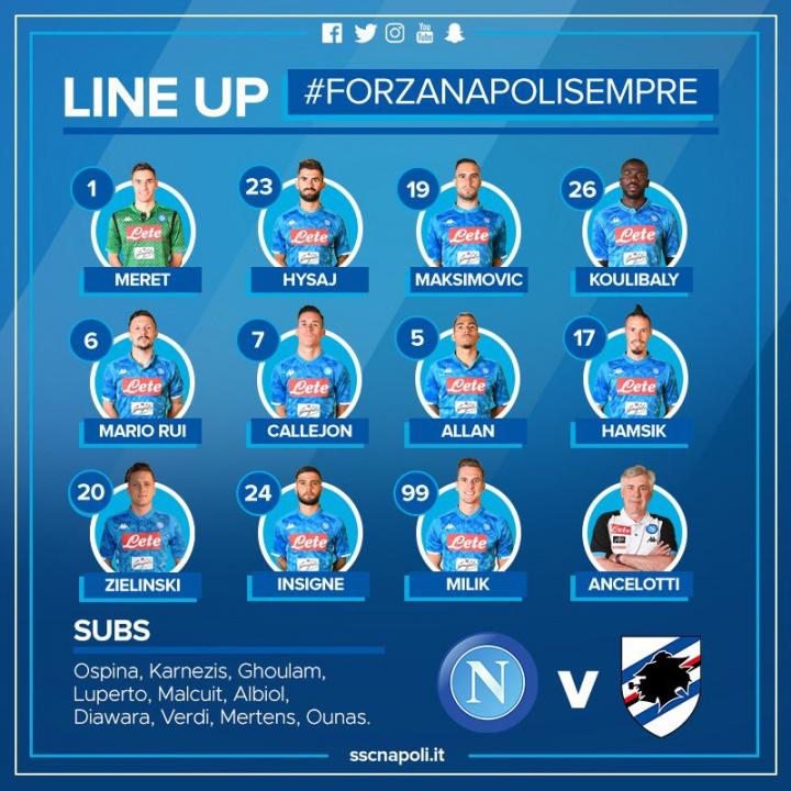 Napoli-Samp, Ancelotti conferma Allan, Insigne, Maksimovic. C'è Hamsik