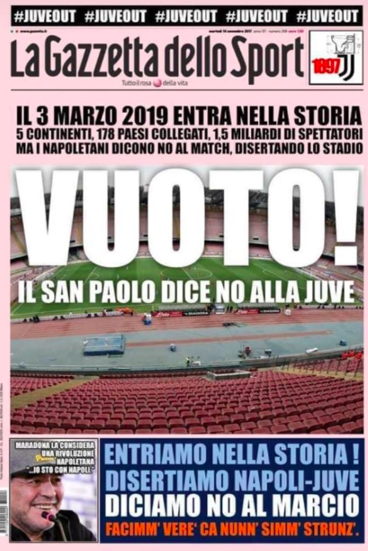 """Napoli Juventus stadio vuoto"", la protesta corre sul web"