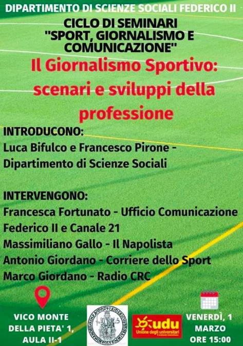 Venerdì (domani) alla Federico II seminario sul giornalismo sportivo col Napolista