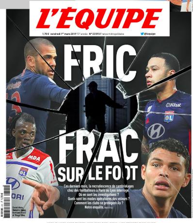 Copertina de L'Equipe: allarme furti con scasso nelle case dei giocatori del Psg