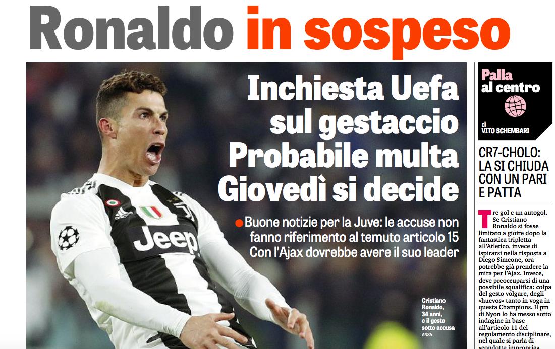 Squalifica Ronaldo, Gazzetta tutta contenta che l'Uefa non ha inserito la provocazione ai tifosi