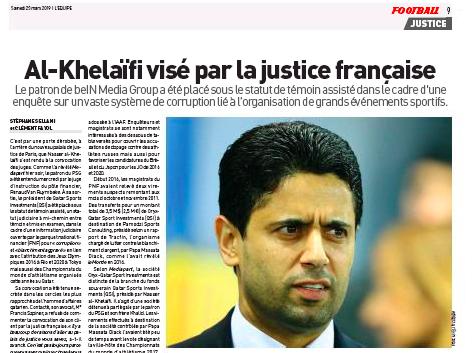 Il presidente del PSG Al–Khelaifi coinvolto in un caso di corruzione