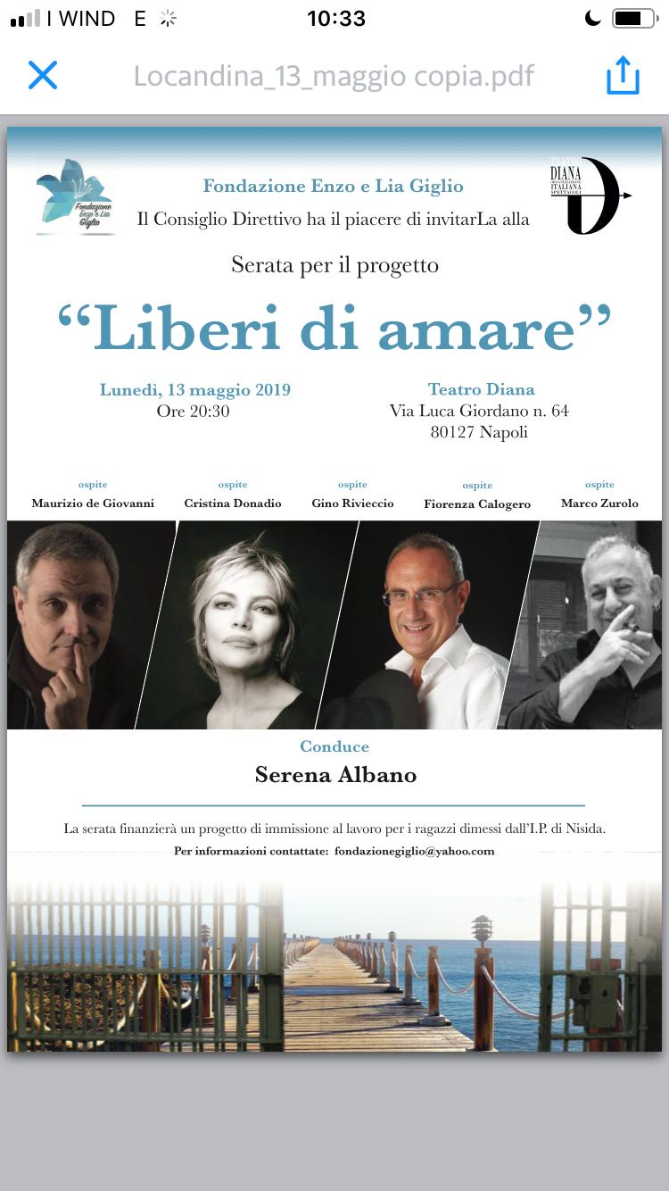 """""""Liberi di amare"""": al Diana Cristina Donadio, Gino Rivieccio, Maurizio de Giovanni e Marco Zurzolo"""