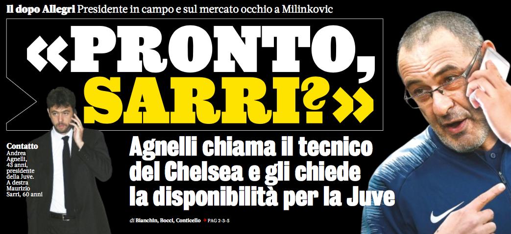 Gazzetta: Juventus, telefonata tra Agnelli e Sarri