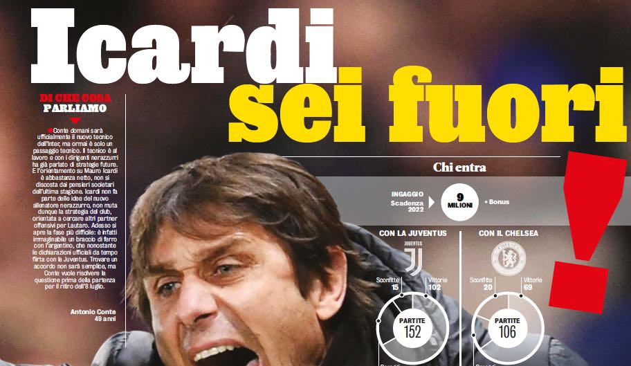 Gazzetta: Nell'Inter di Conte non c'è posto per Icardi