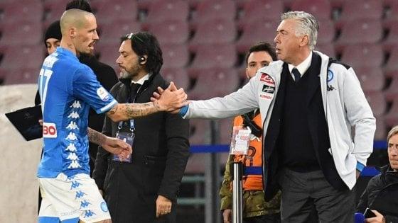 Ancelotti al Roma: «Non penso che con Hamsik avremmo fatto meglio»