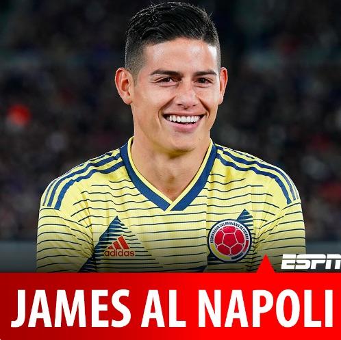 Espn Colombia annuncia James Rodriguez al Napoli