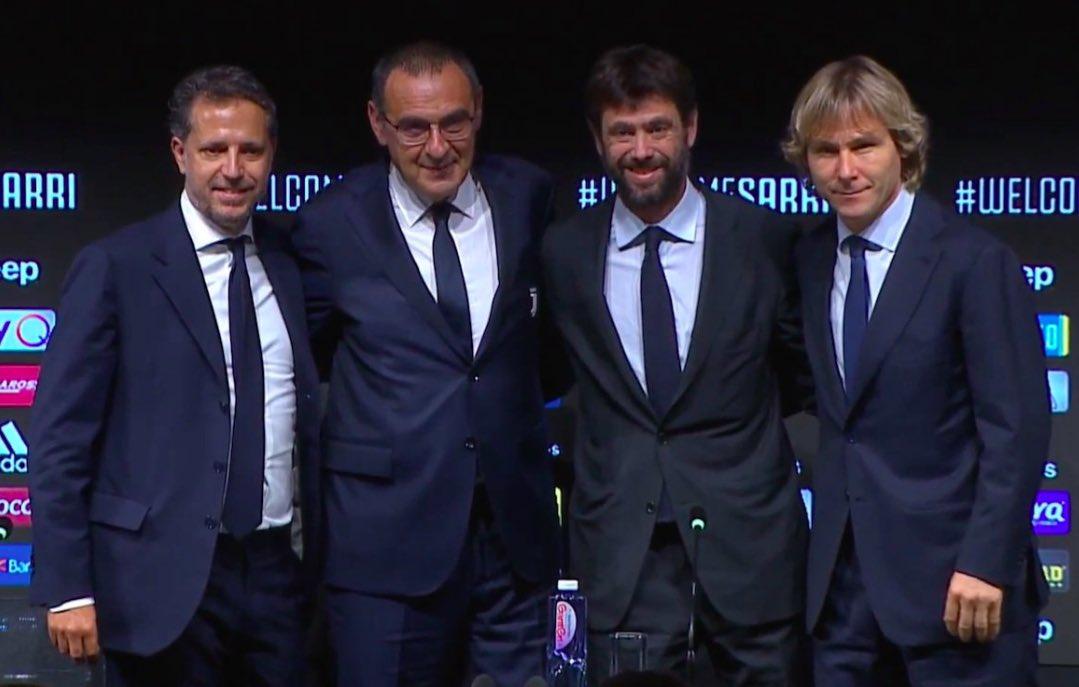 """Dagospia: """"Terremoto Juve. Sarri rischia anche con la Champions, con lui via Paratici (Roma) e Nedved"""""""