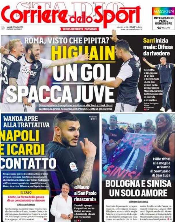 """Corriere dello Sport: """"Icardi e Napoli: contatto. Wanda apre alla trattativa"""""""