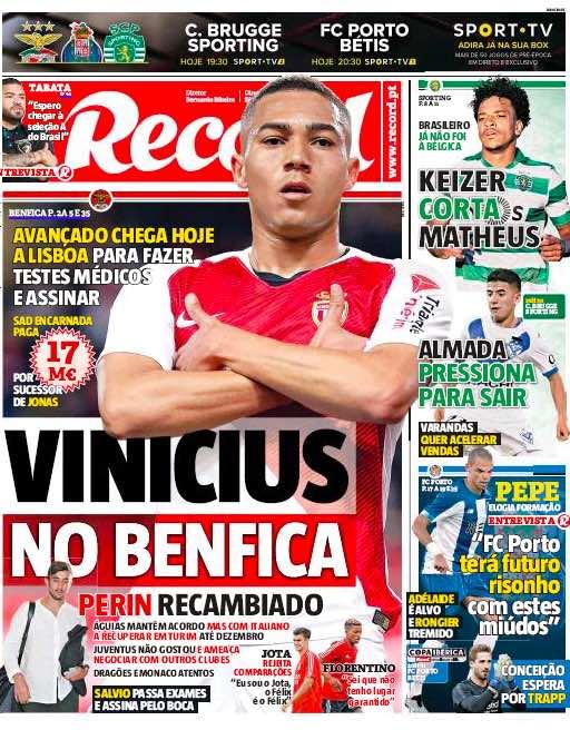 """Record: """"Vinicius al Benfica, l'erede di Jonas pagato 17 milioni"""""""