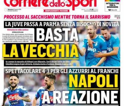"""Prima pagina del CorSport: """"Napoli a reazione"""""""