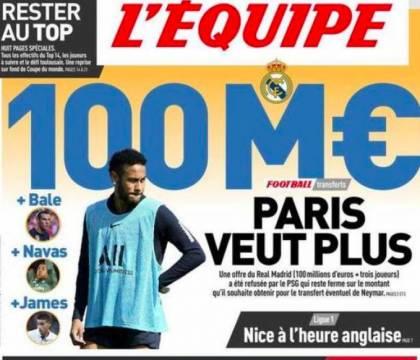 L'Equipe – Il Real Madrid offre 100 milioni più James, Navas e Bale per Neymar