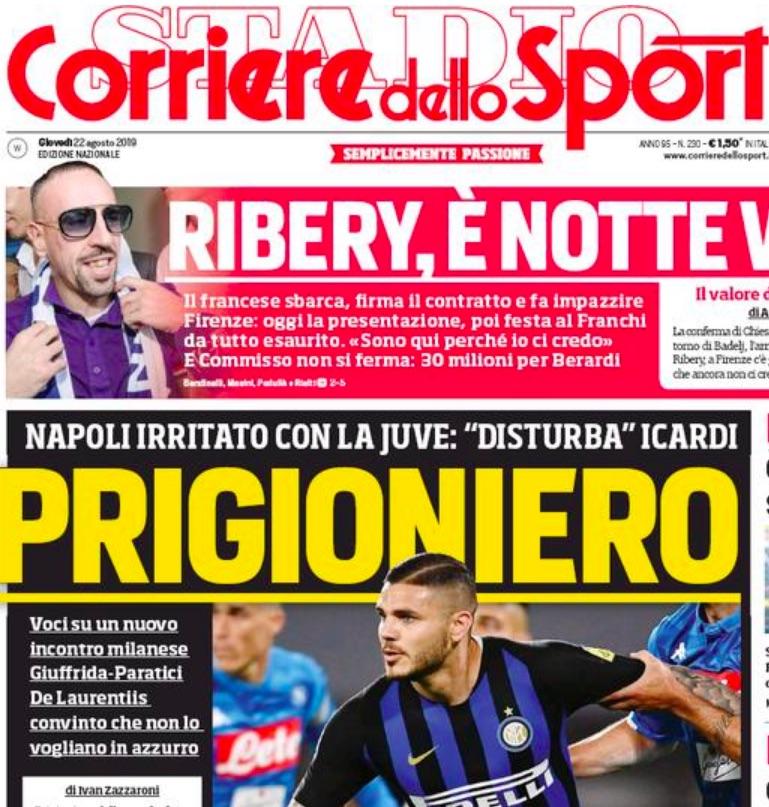 Corriere dello Sport: De Laurentiis è convinto che ci sia la Juve dietro i no di Icardi