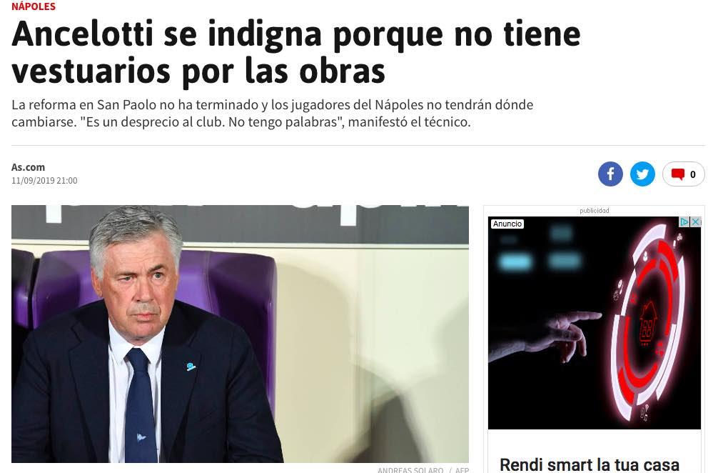 Il comunicato di Ancelotti sugli spogliatoi del San Paolo finisce su As