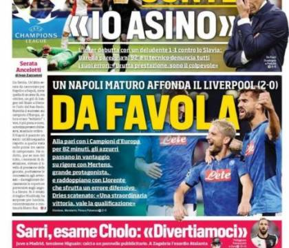 La prima pagina del Corriere dello Sport sulla serata di Cha