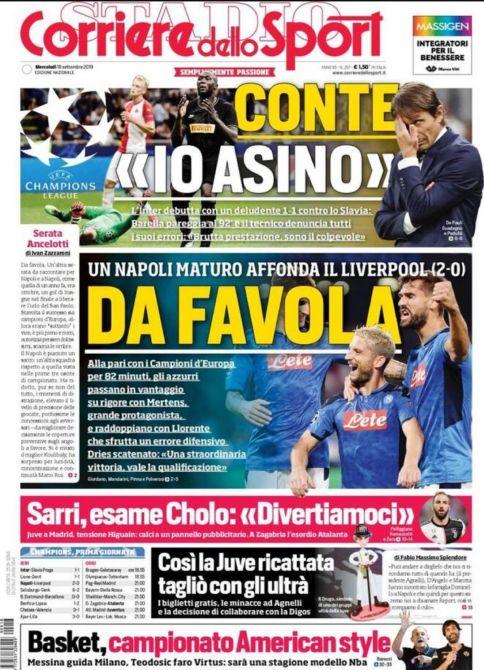 La prima pagina del Corriere dello Sport su Napoli-Liverpool 2-0