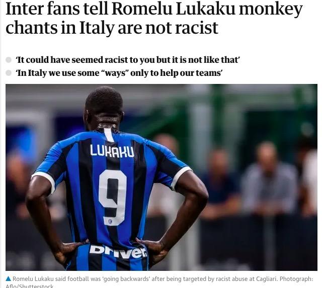 In Italia avremo sempre il razzismo negli stadi, l'Italia (essendo razzista) non lo considera razzismo
