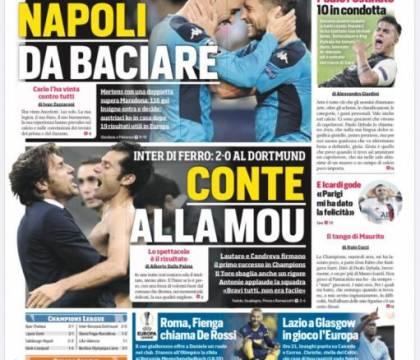 """""""Napoli da baciare"""", la prima pagina del Corriere dello Spor"""