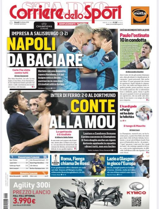 """""""Napoli da baciare"""", la prima pagina del Corriere dello Sport"""