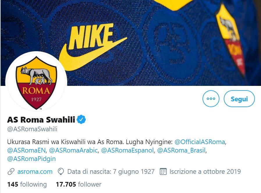 La Roma lancia un account Twitter in lingua swahili