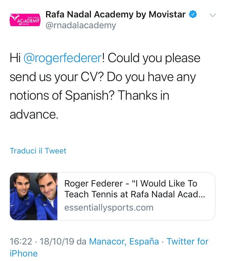 Federer vuole fare il maestro all'Accademia di Nadal. E la scuola gli chiede… il curriculum