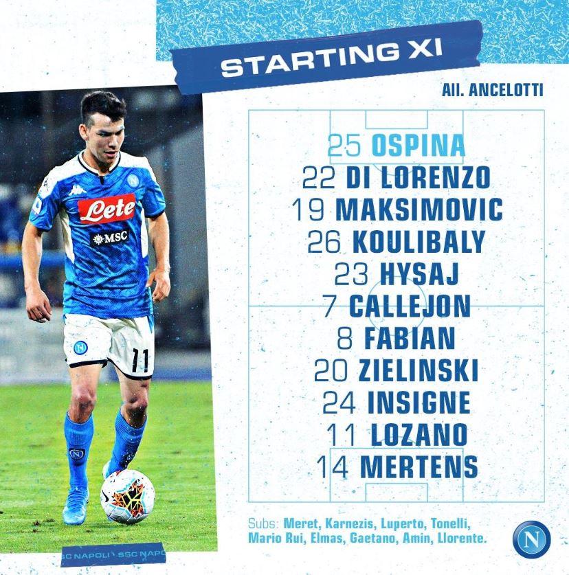 Napoli-Genoa, gioca Hysaj. In attacco Mertens e Lozano