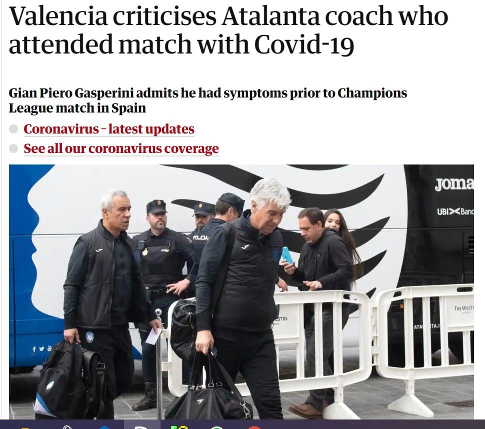 """Il """"caso Gasperini"""" diventa internazionale, ne scrive anche il Guardian"""